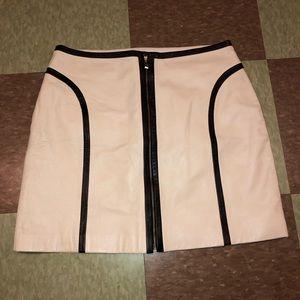 Margaret godfrey ivory minimalist leather skirt 10